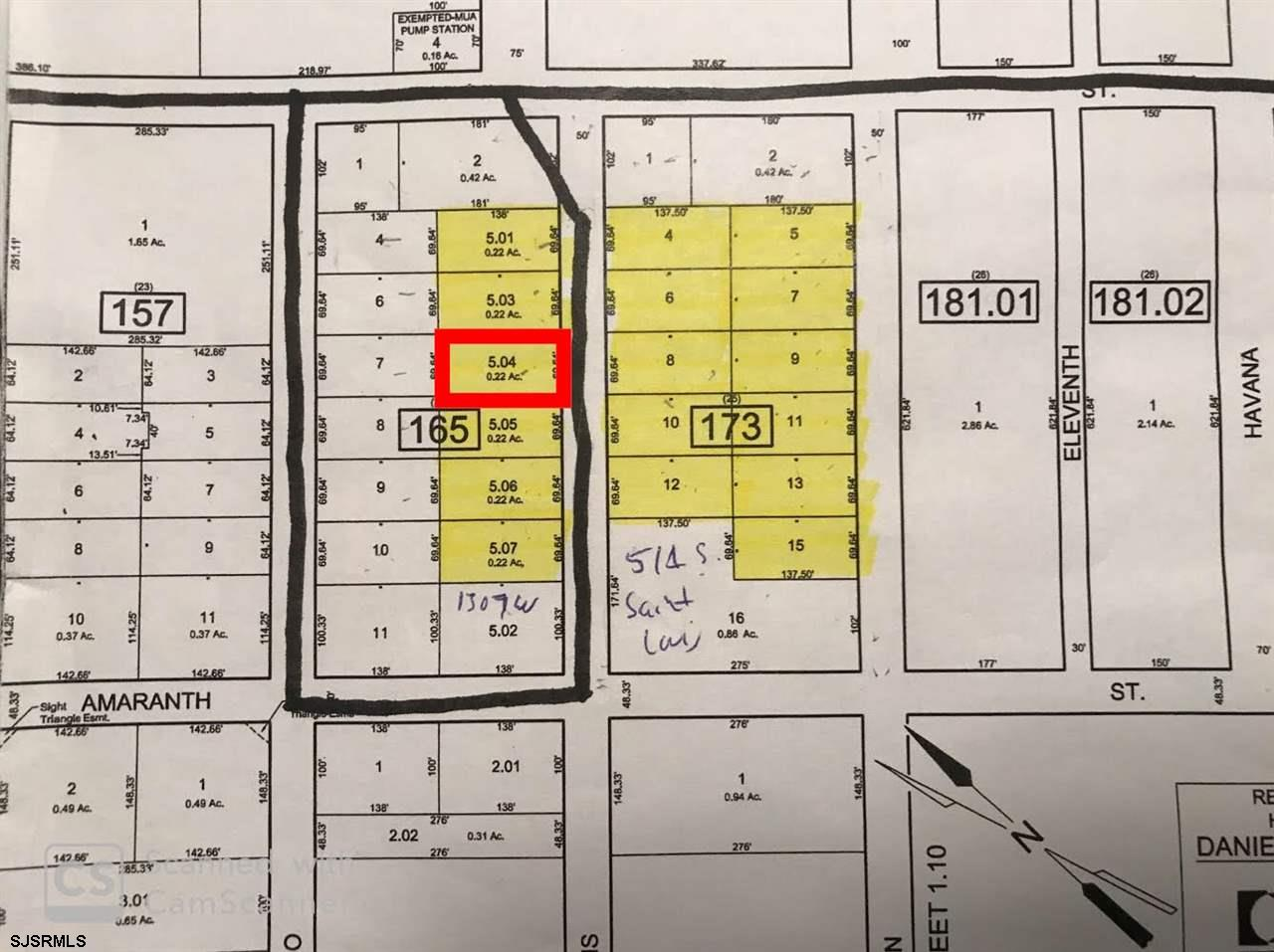 Highlighted map provided by Galloway Township. The black lines on the street are gravity sewer lines. Existing houses have well water, electric and cable. Gas is available in the area. Seller is selling land as-is. Buyer is responsible for due diligence and all fact finding including but not limited to: cost for development, engineering, Pinelands, Wetlands or any thing else that is essential to know prior to purchasing.