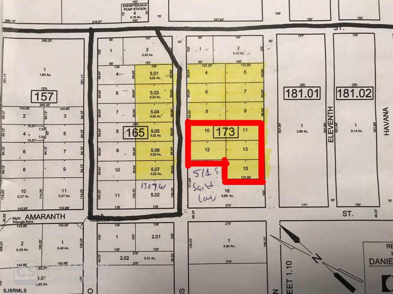 Highlighted map provided by Galloway Township. The black lines on the street are gravity sewer lines. Existing houses have well water, electric and cable. Gas is available in the area. Block 173 is part St. Louis Ave and part Boston Ave. Seller is selling land as-is. Buyer is responsible for due diligence and all fact finding including but not limited to: cost for development, engineering, Pinelands, Wetlands or any thing else that is essential to know prior to purchasing.