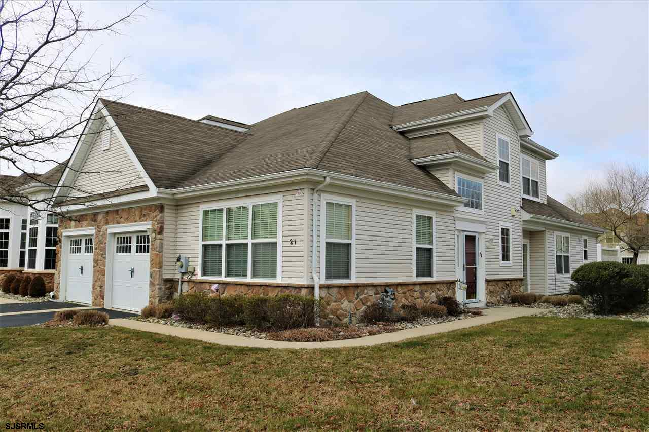 "THIS IS THE ONE! Move right into this fabulous unit complete with a first floor master suite, a den or office PLUS 2 full sized 2nd floor bedrooms w/double closets in each. Lake front end unit with side patio accessible from the b'fast nook. 42"" cabinets in the kitch, pantry and all appliances included. H/W floors in the foyer. 2 story formal dining room for family gatherings. Attached garage leads into the formal LR which is situated in the front of the home. Ample storage for all you extra ""stuff.""  Over 2000 square feet makes this ideal for downsizing without giving up so many of your personal belongings.  Easy to show with immediate occupancy. It is a fabulous 55+ Adult community and Shop Rite, McDonalds, CVS, and houses of worship are"