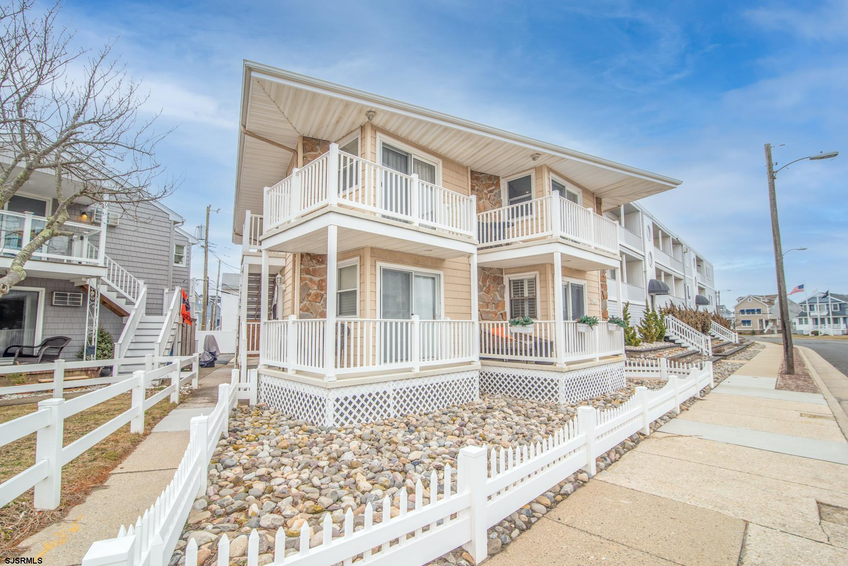 Longport first-floor town home beautifully and completely redone sparing no expense.  Features quart